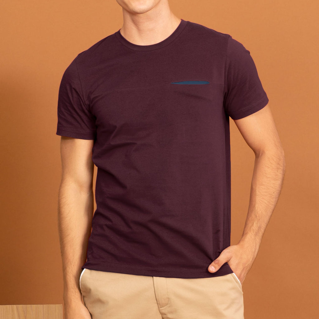 TWIST POCKET TEE - MAROON