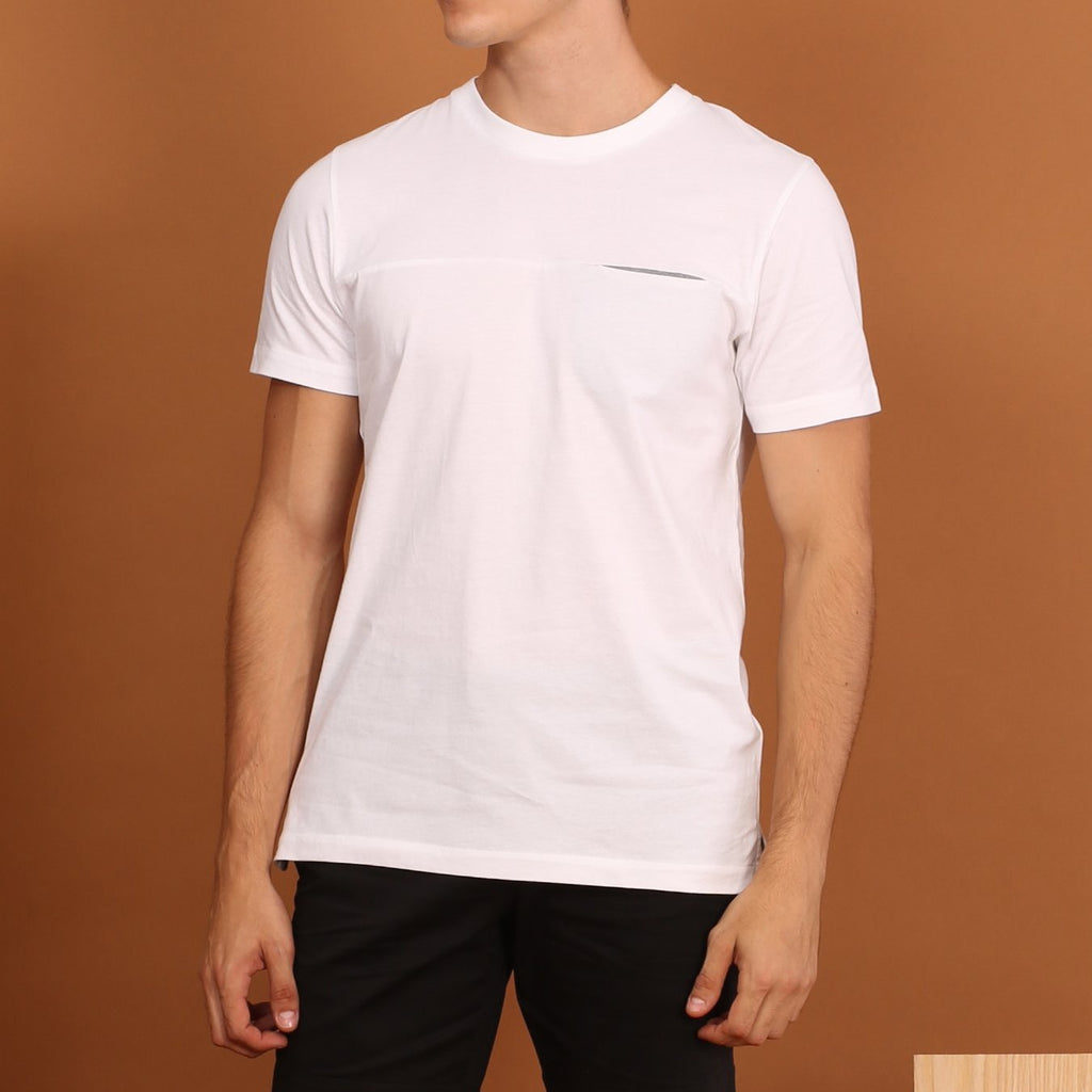 TWIST POCKET TEE - WHITE