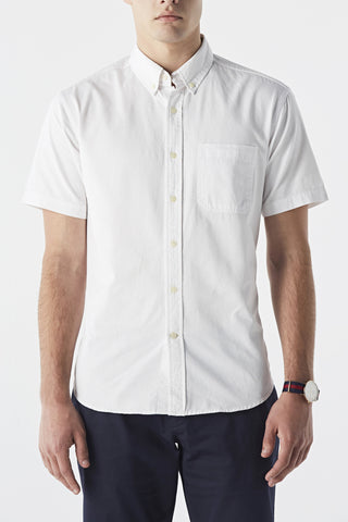 Cotton twill short sleeves shirt - White