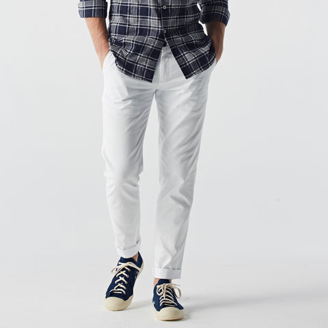 Tyler cotton twill chino : White