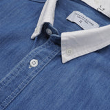 DENIM DETACHABLE COLLAR SHIRT - BLUE