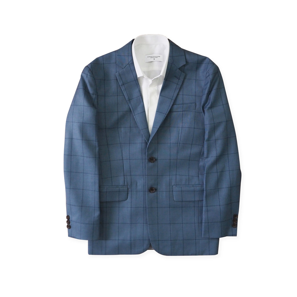 BRIT SQUARE WOOL SUIT - BLUE