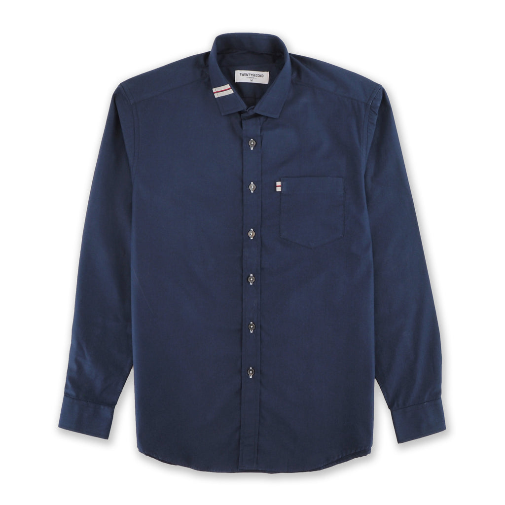 NAVY COTTON SHIRT WITH RIBBON COLLAR