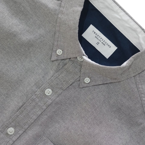OXFORD RIBBON SHIRT -GREY