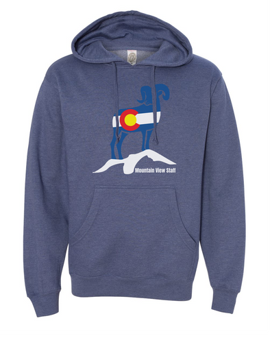 Mountain View CO Flag Bighorn Unisex Midweight Hooded Sweatshirt