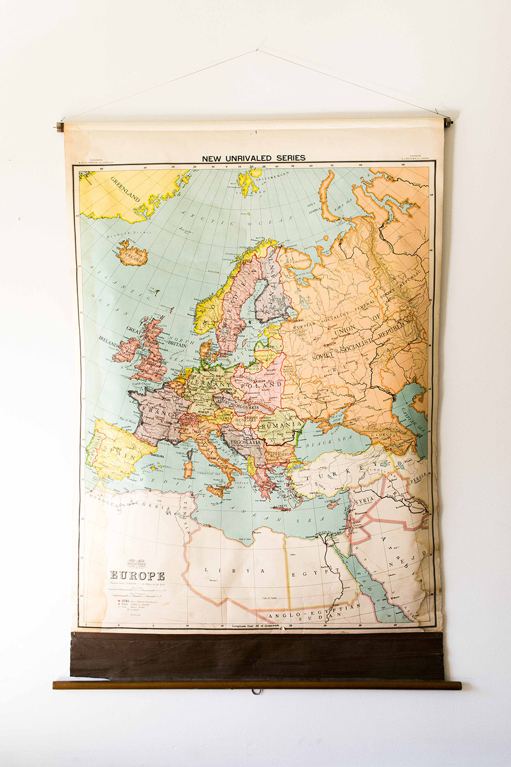 Antique A.J. Nystrom & Co. Europe Map