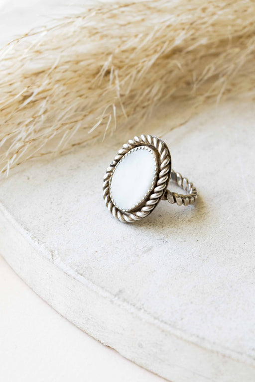Mother Of Pearl Silver Ring - Size 6.5