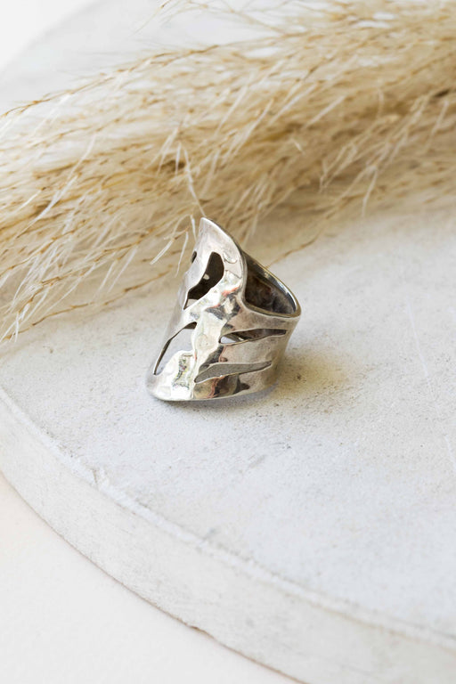 Hammered Sterling Silver Cutout Ring - Size 6.5