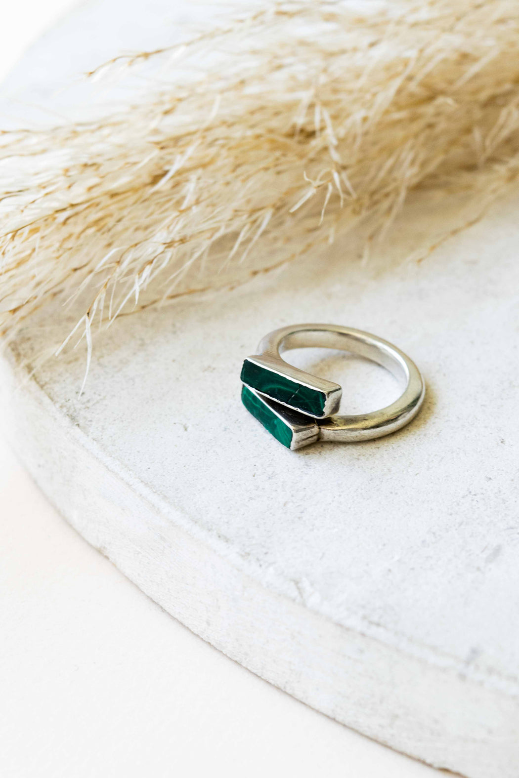 Malachite Two Stone Offset Ring - Size 7.5