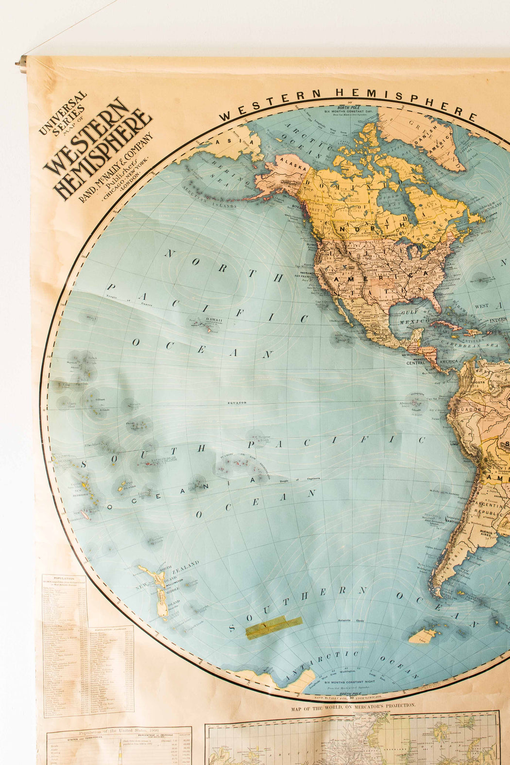Antique Rand McNally & Co. Western Hemisphere Map