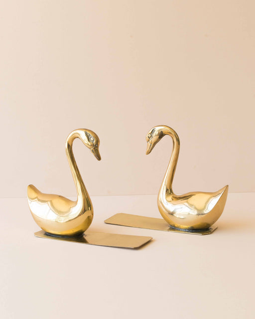 Brass Swan Bookends (set)