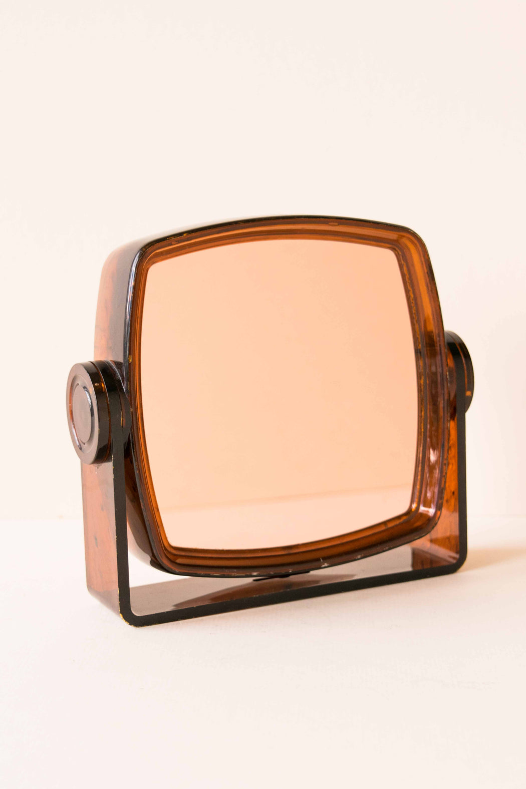 Amber Lucite Double Sided Vanity Mirror