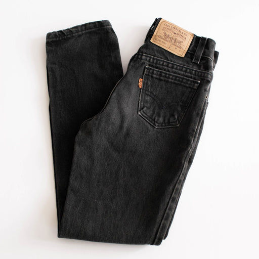 Kid's Black Orange Tab Jeans