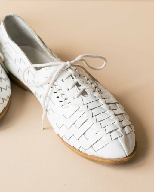 White Lace Up Woven Flats - Size 7.5