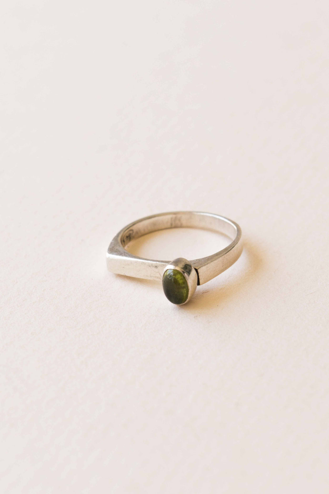 Sterling + Small Peridot Stone Ring - Size 6.5