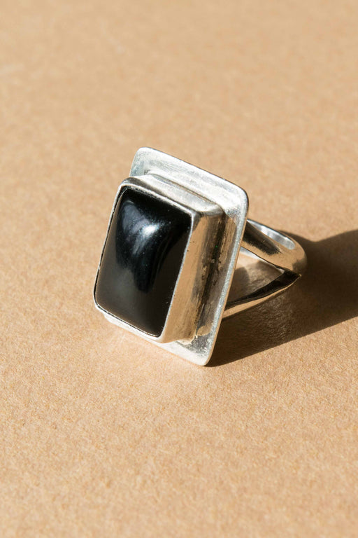 Black Square Onyx Sterling Ring