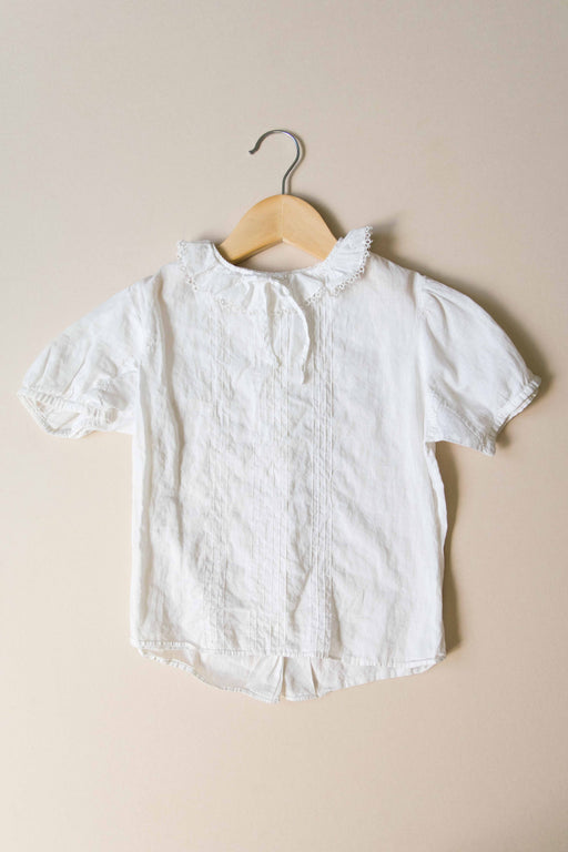 Kids White Ruffle Collar Blouse