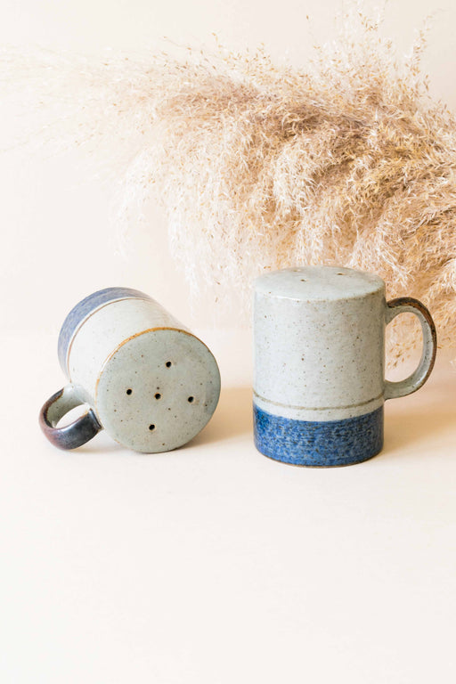 Grey + Blue Ceramic Salt + Pepper Shakers