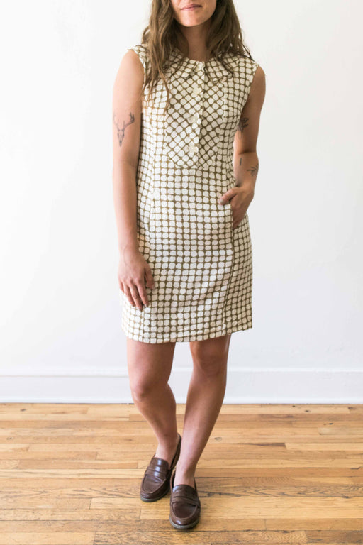 Brown + Cream Button Front Collared Dress