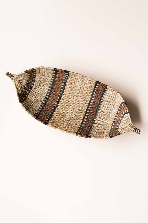 Striped Almond Shape Woven Basket