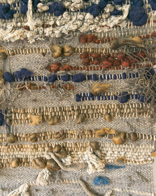 Grey Blue + Brown Woven Wall Hanging