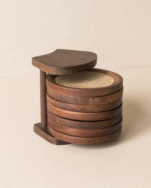 Wood + Cork Coaster Set