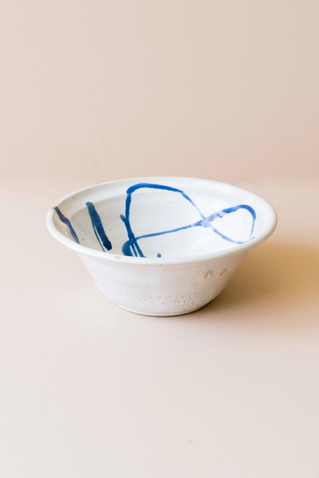Mid Century White + Blue Bowl
