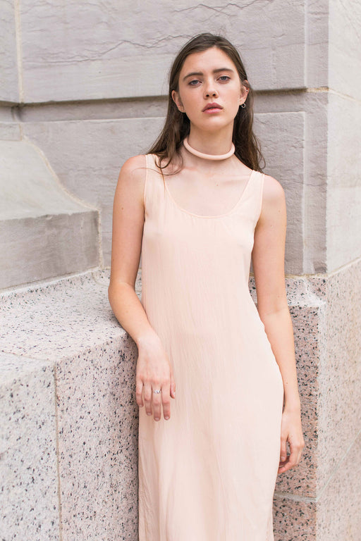 Peach Silk Slip Dress