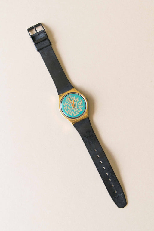 Black + Turquoise Swatch Watch