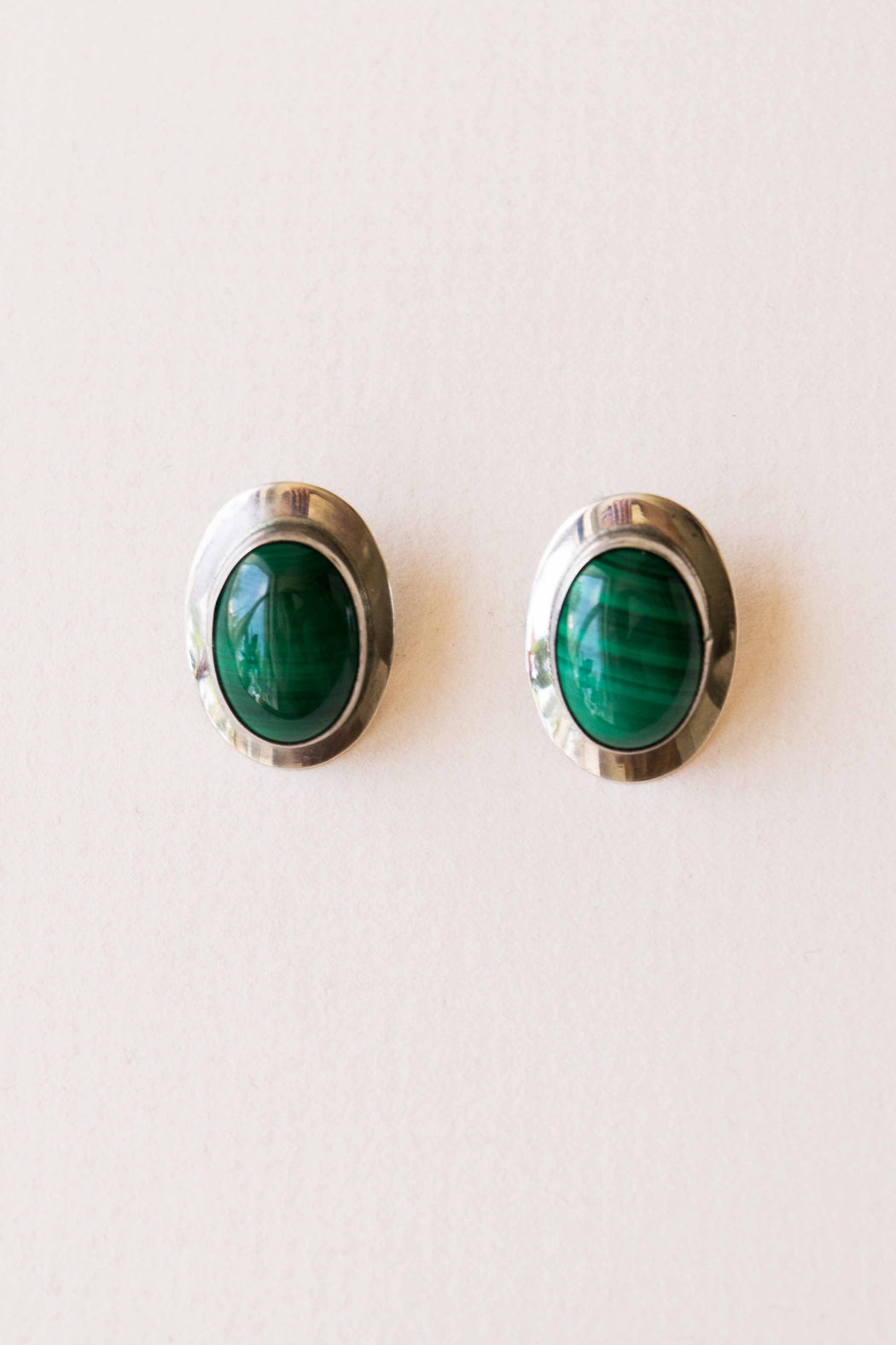 Silver + Green Malachite Earrings