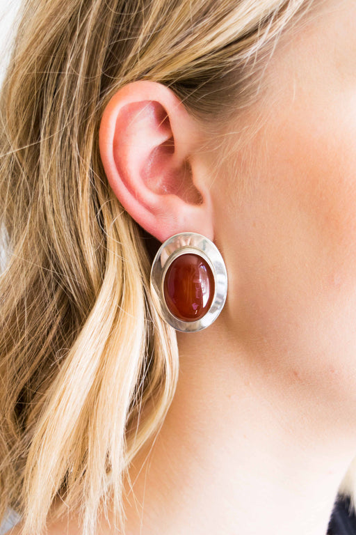 Large Silver + Red Stone Earrings