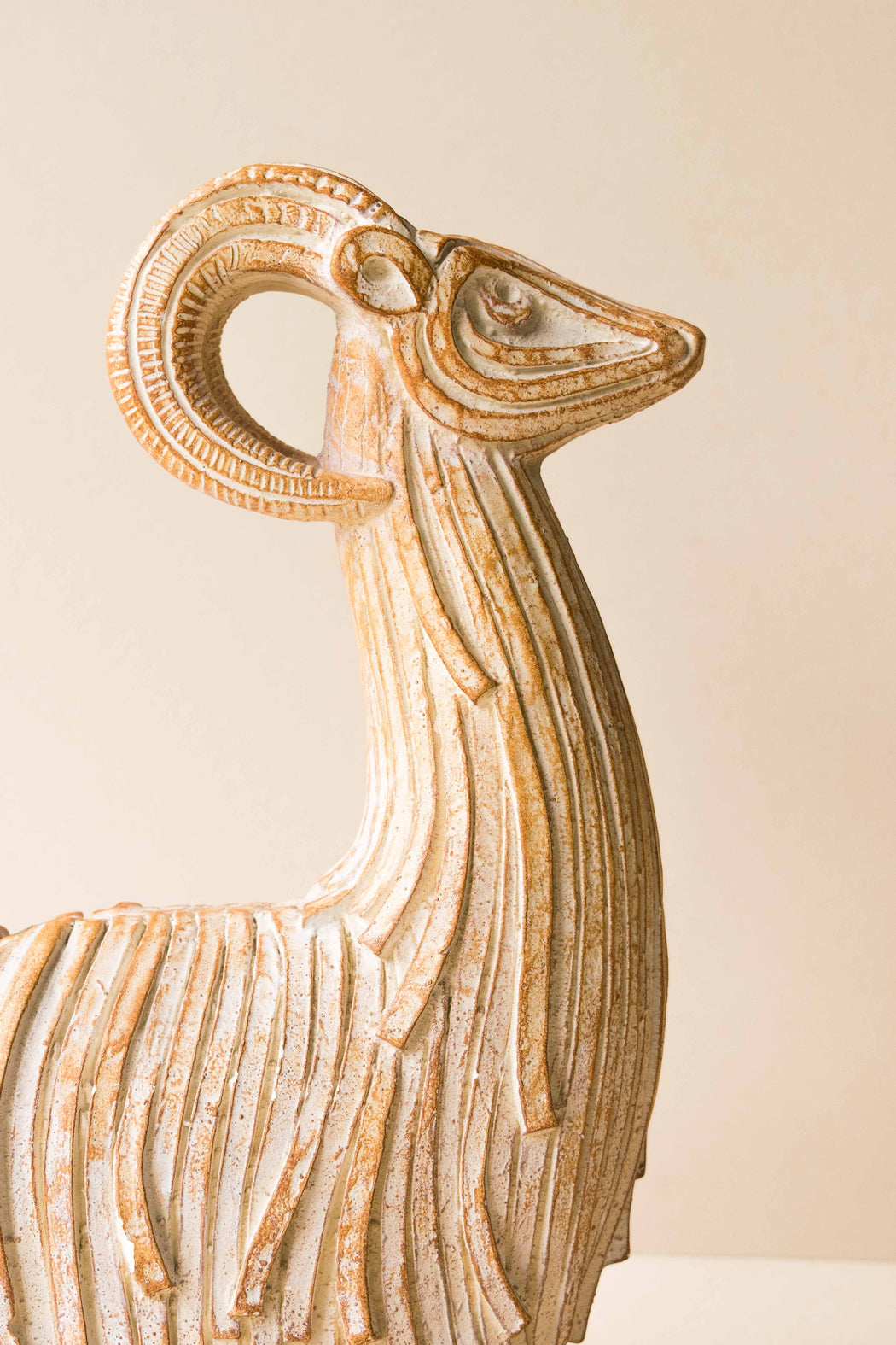 Large Carved Stoneware Ram