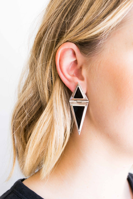 Onyx + Sterling Triangle Dangle Earrings