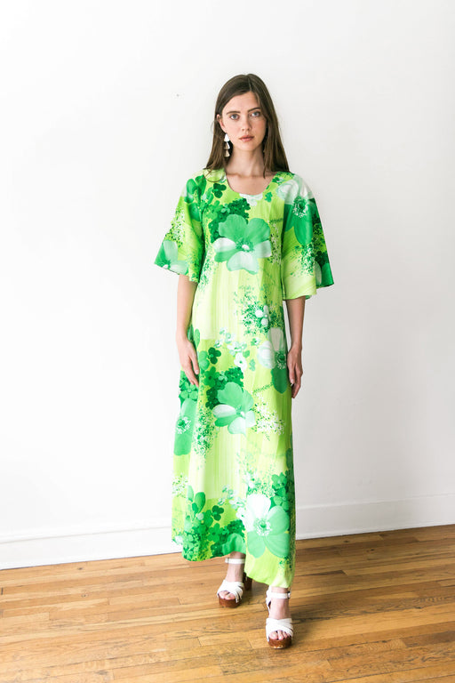 80's Lime Green Floral Dress