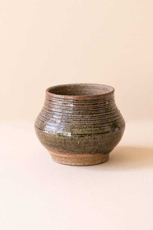 Brown Ridged Ceramic Vase