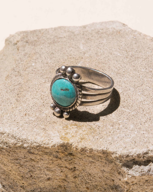 Round Turquoise Sterling Ring - Size 6.5