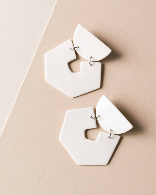 Hex Earrings - Four Eyes Ceramics