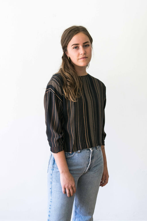 Striped Navy Cropped Blouse With Buttons