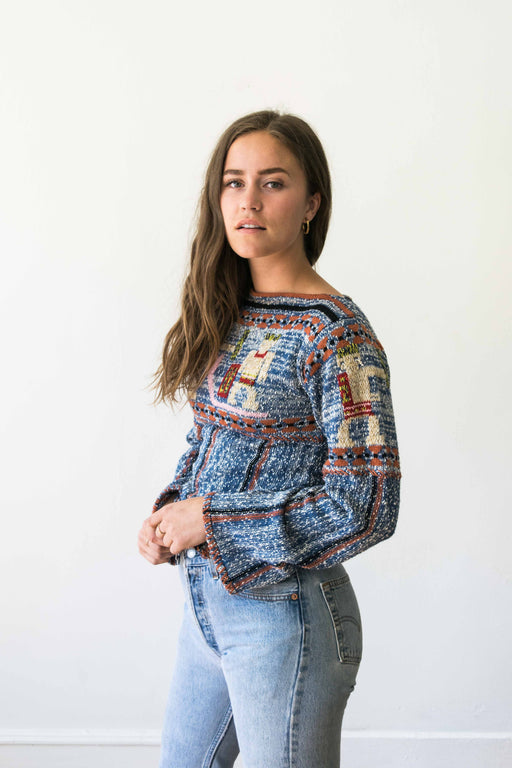 Blue Knit Bell Sleeve Pullover Sweater