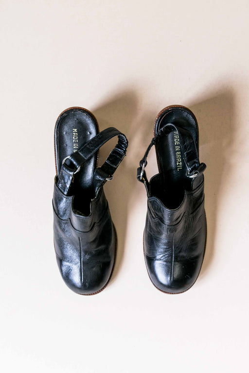 Black Leather + Wood Clogs