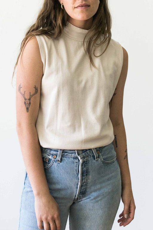 Cream Mock Neck Sleeveless Top