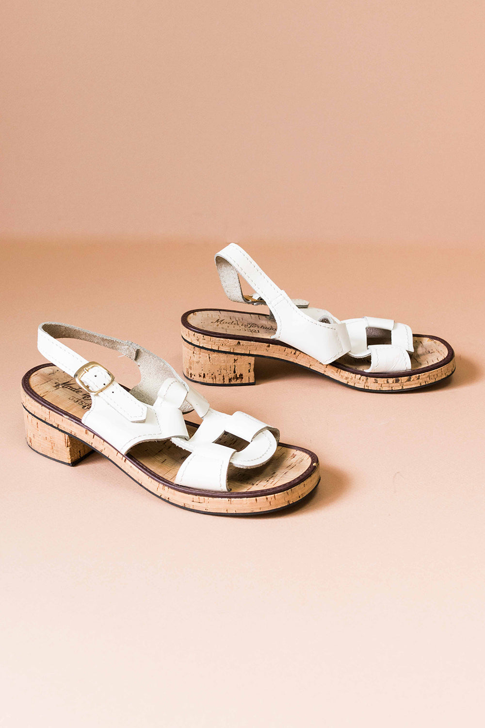 White Leather + Cork Sandals