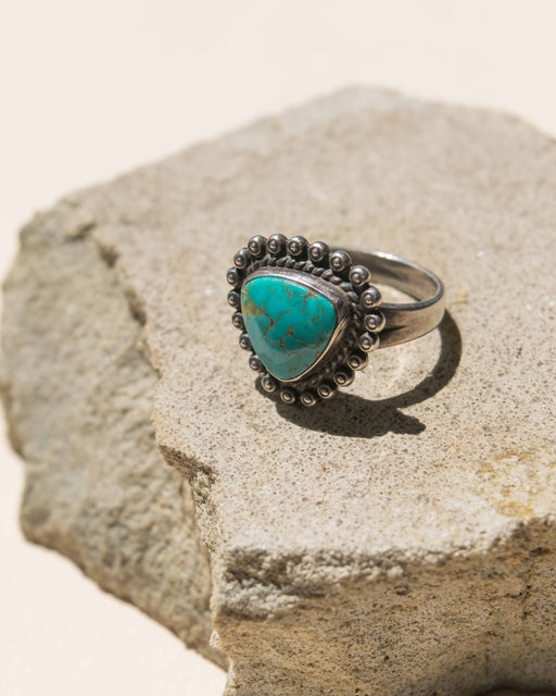 Turquoise Curved Triangle Navajo Sterling Ring - 7