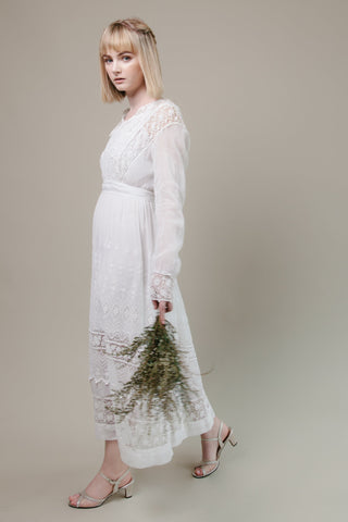 Edwardian Long Sleeve Crochet Edwardian Dress With Collar - BRIDAL - Meek Vintage - 1