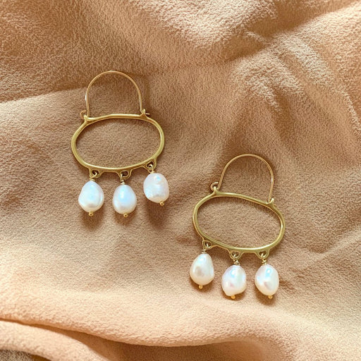 Goldeluxe - Penelope Pearl Hoop Earrings