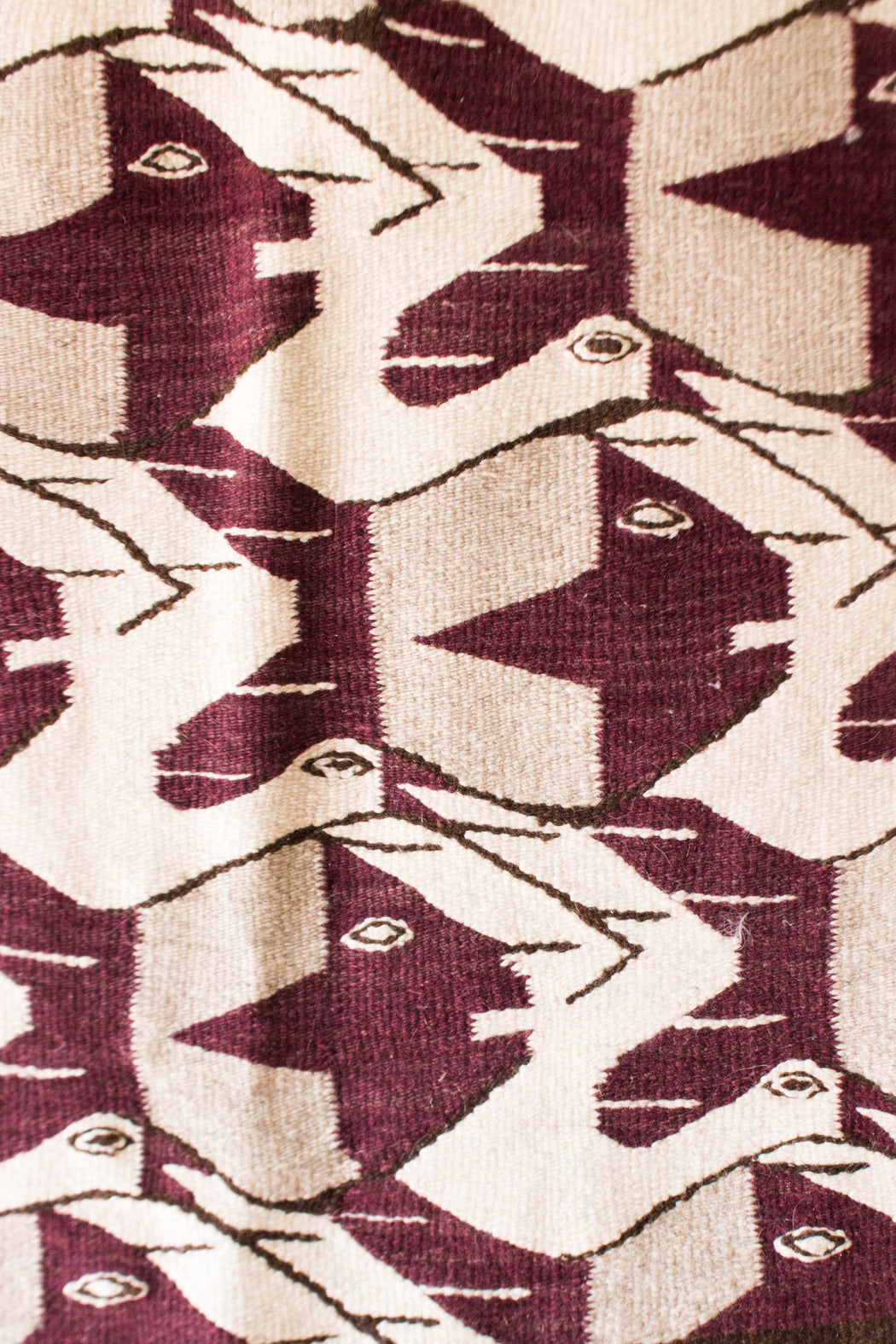 Cream + Purple Bird Pattern Textile