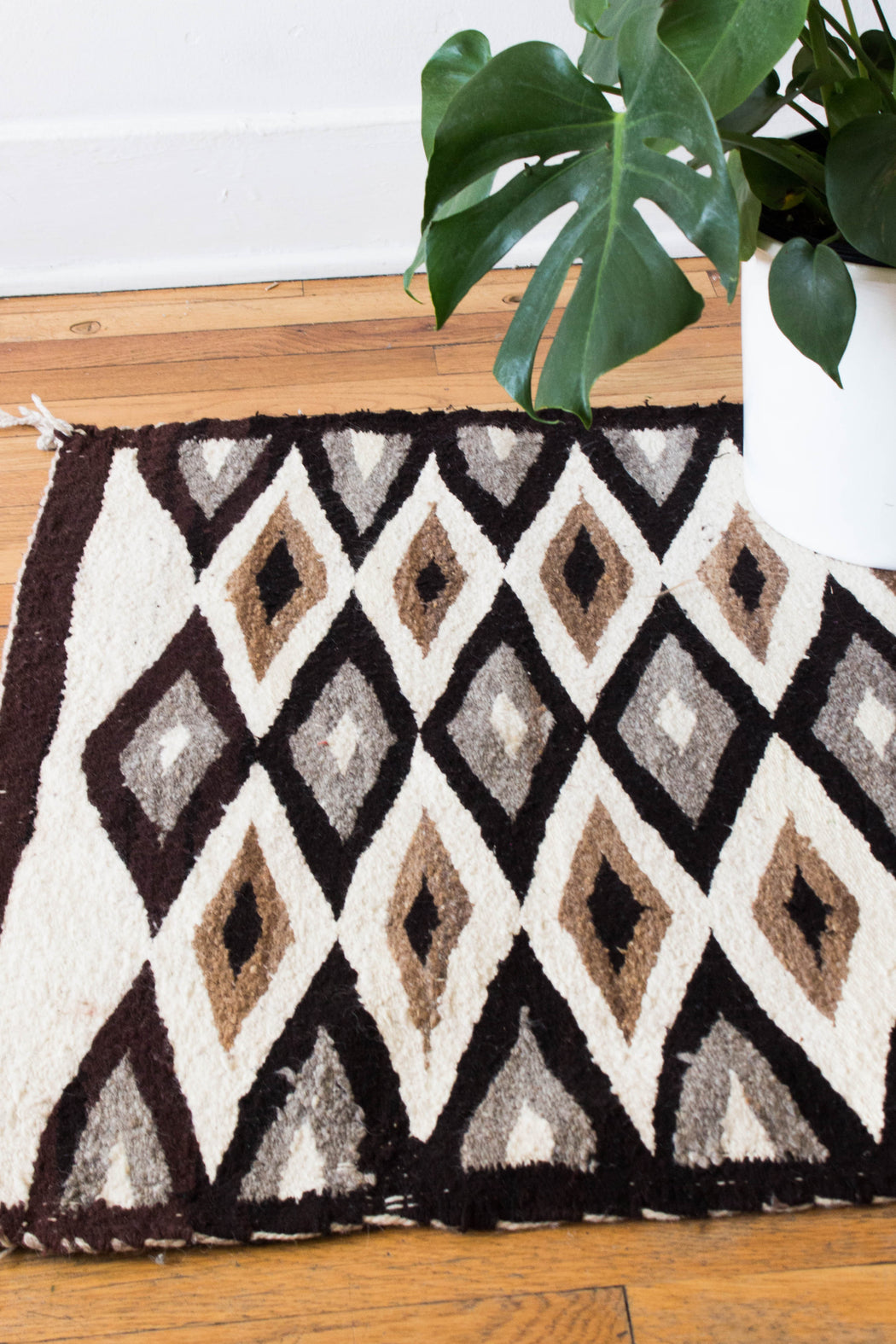 Brown + Grey Navajo Diamond Pattern Textile