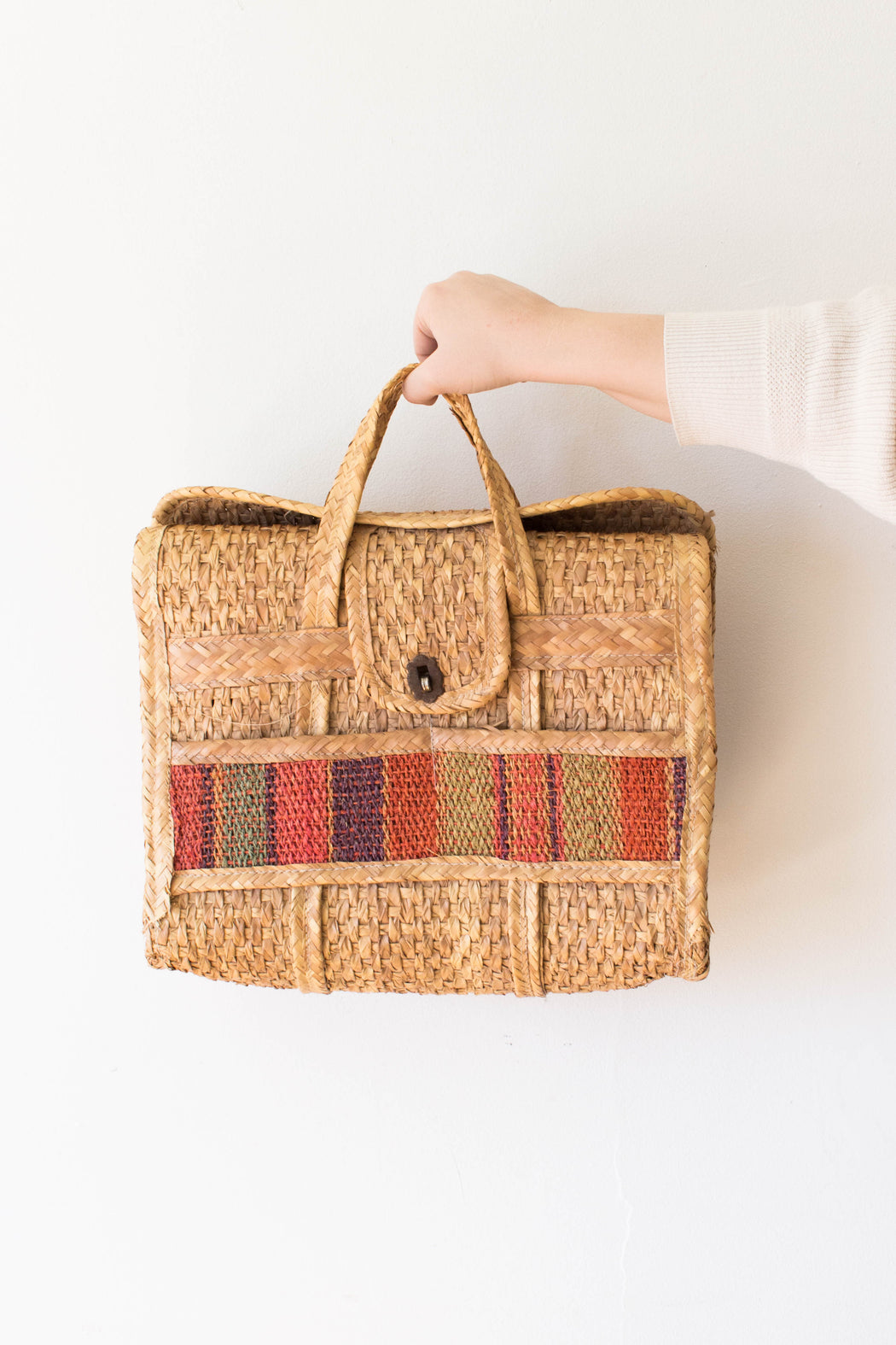 Multi-Color Woven Basket Purse