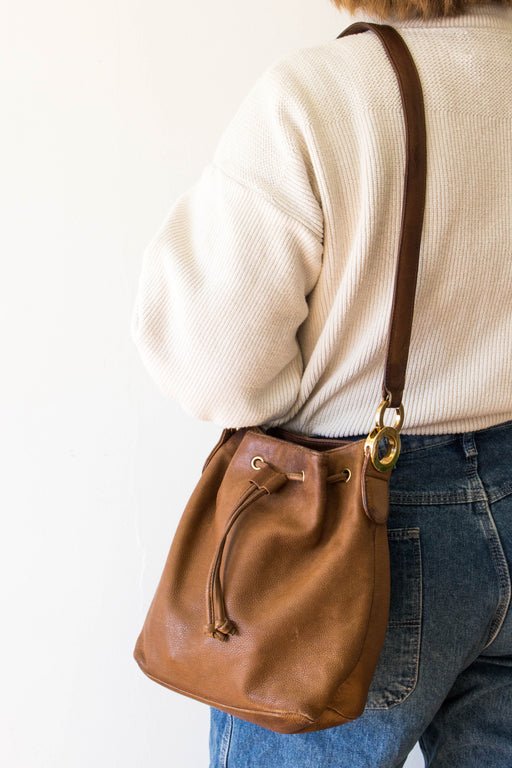 Brown Leather Lord & Taylor Bucket Bag