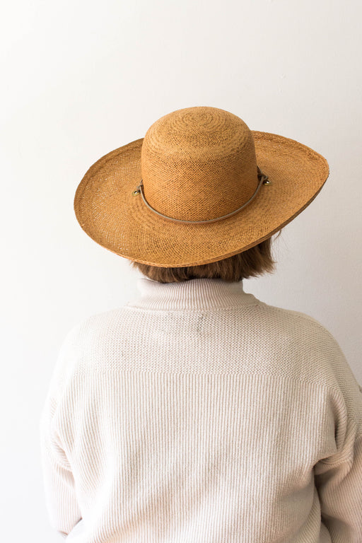 Straw Hat With Leather Cord